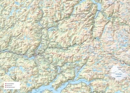 Oversiktskart over Voss. Fra Trygge toppturer