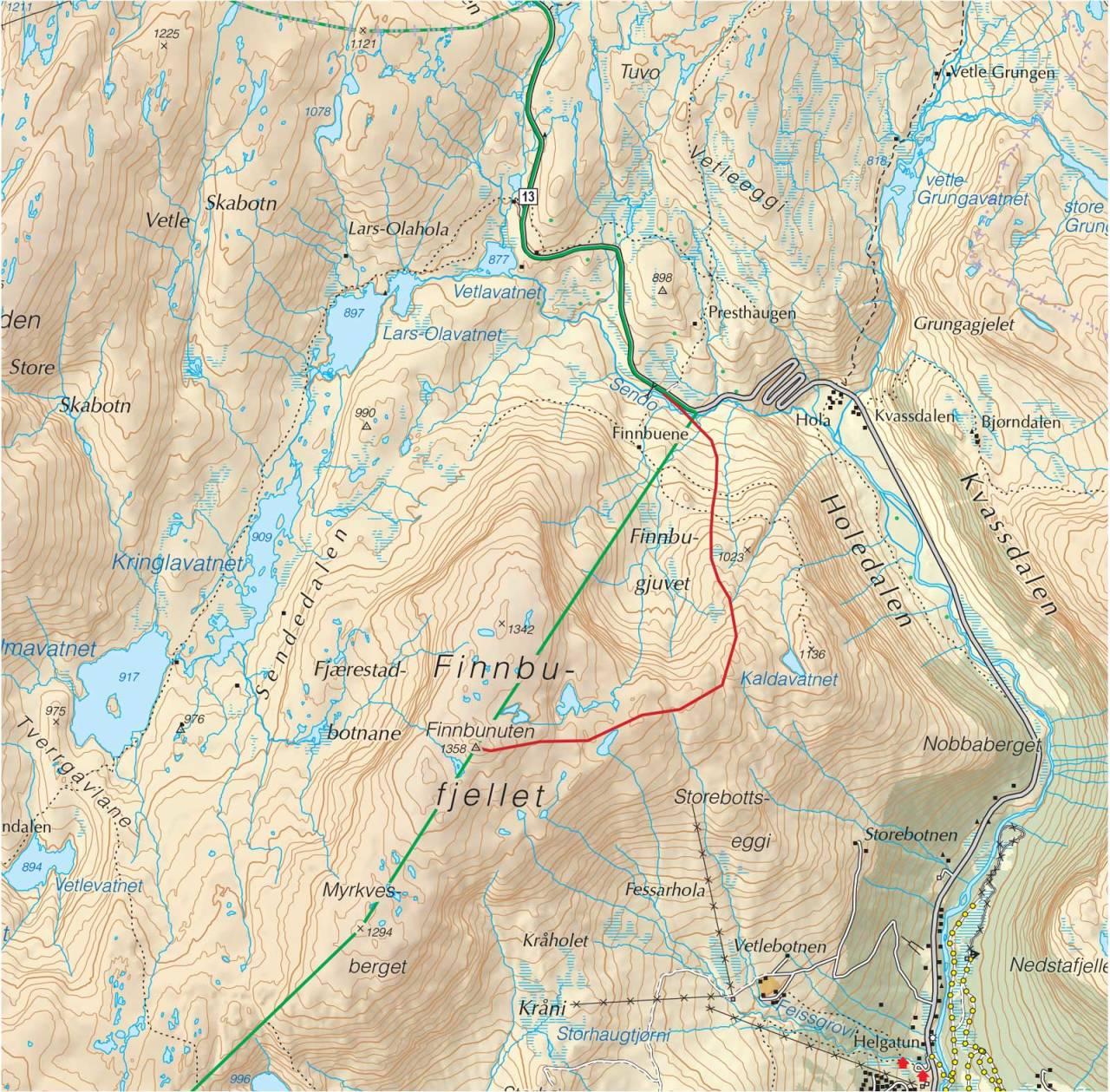Kart over Finnbufjellet med inntegnet rute. Fra Trygge toppturer