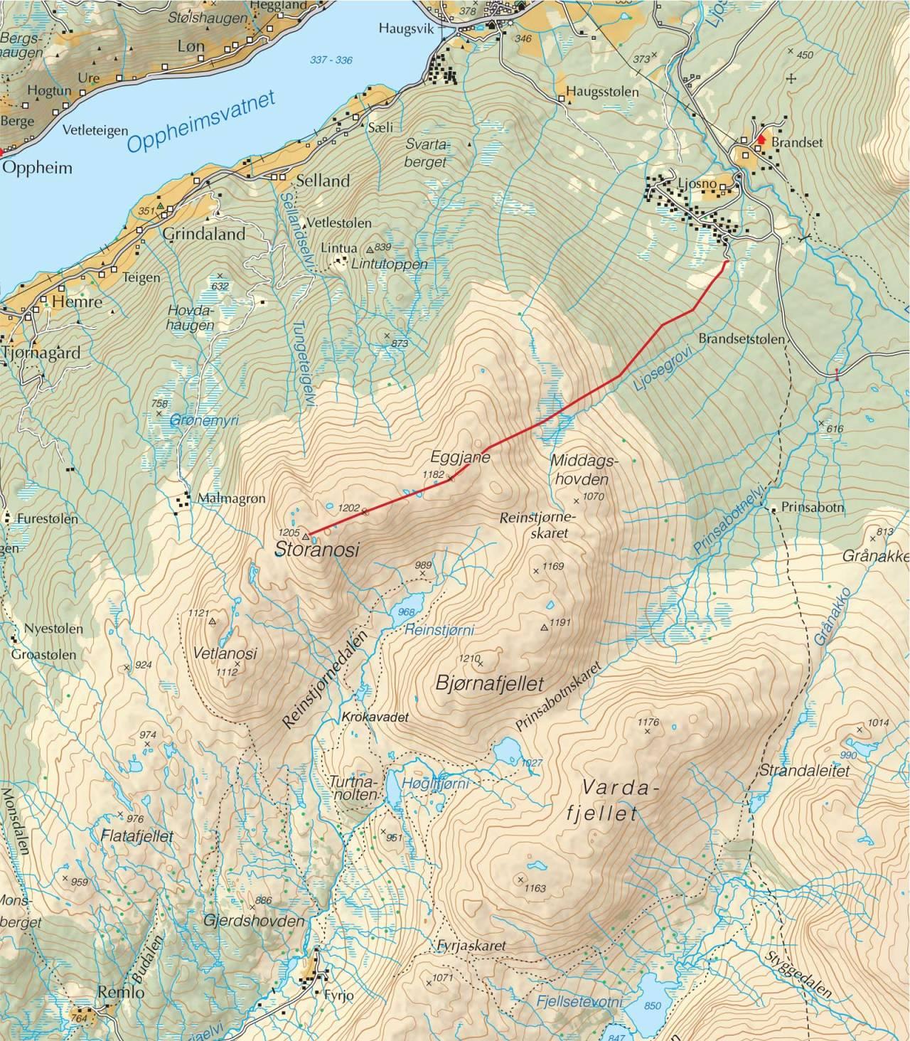 Kart over Storanosi med inntegnet rute. Fra Trygge toppturer.