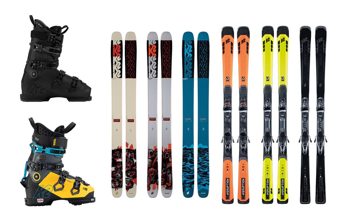 NYHETER FRA K2: De nye K2-støvlene til venstre, sammen med frikjøringsskiene Reckoner i midten og bakkeskiene Disruption til høyre.