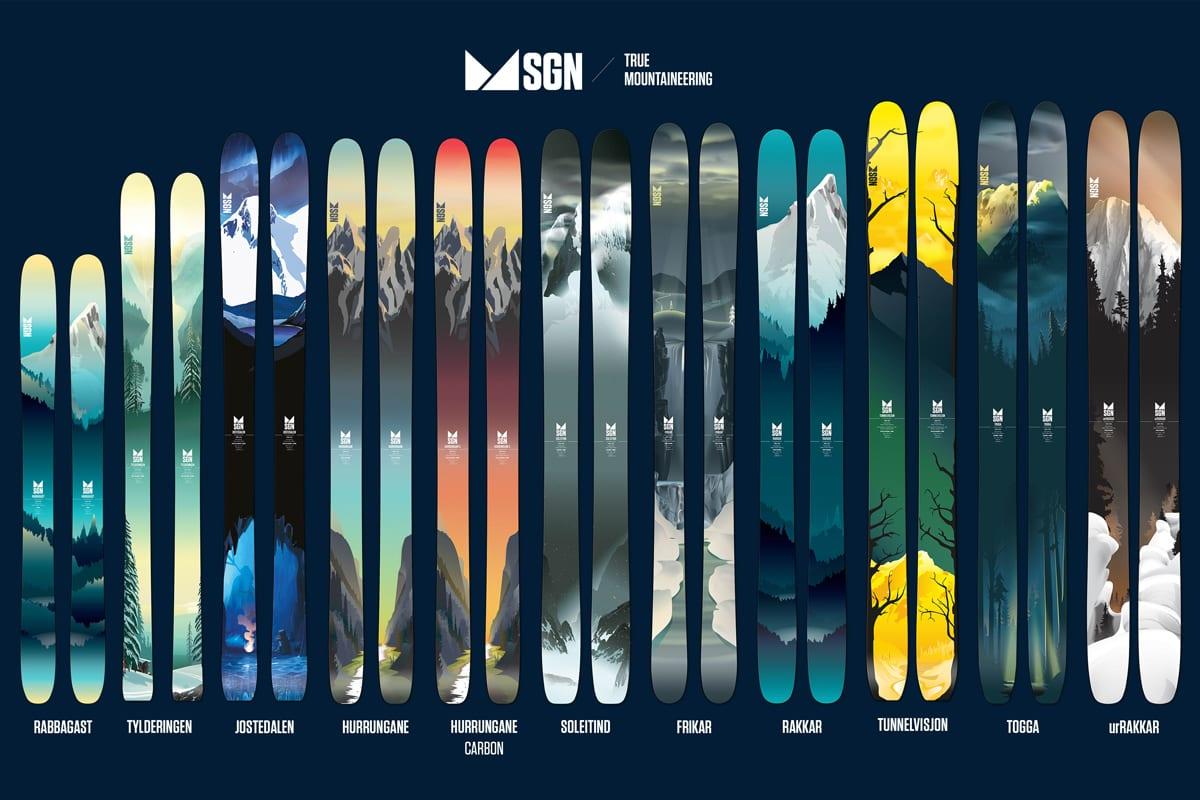NYHETER: To splitter nye modeller, en splitter ny konstruksjon og masse nytt design. Slik blir neste års ski fra norske SGN.