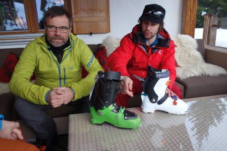 LURINGER: Fritz Barthel og Eric Hjorleifson har tenkt ut flere nye løsninger på turstøvelen Hoji. Foto: Sandra Lappegard Wangberg