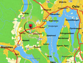 HER ER DAMMEN: I utkanten av Asker finner vi Padderudvannet, rett ved E18. Kart: Gulesider.no