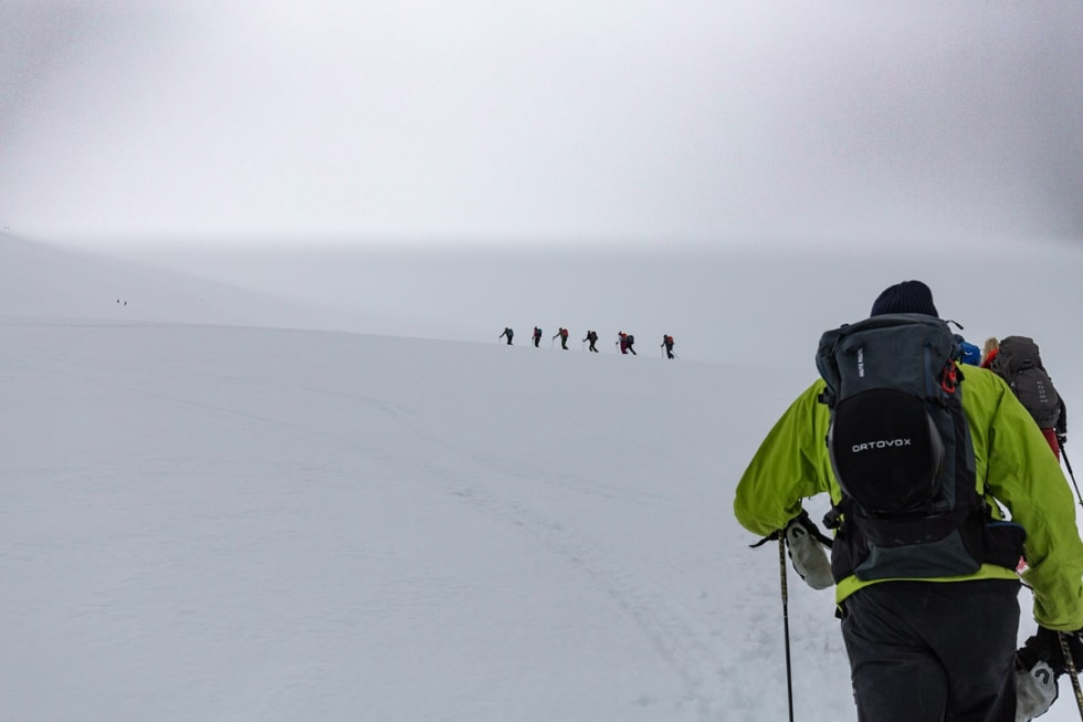 From ski & sail with christian radich and fri flyt in 2019. Visitng the mountains in Lyngen with a big skimo / randonee ski touring group! Foto: Torbjørn Melby