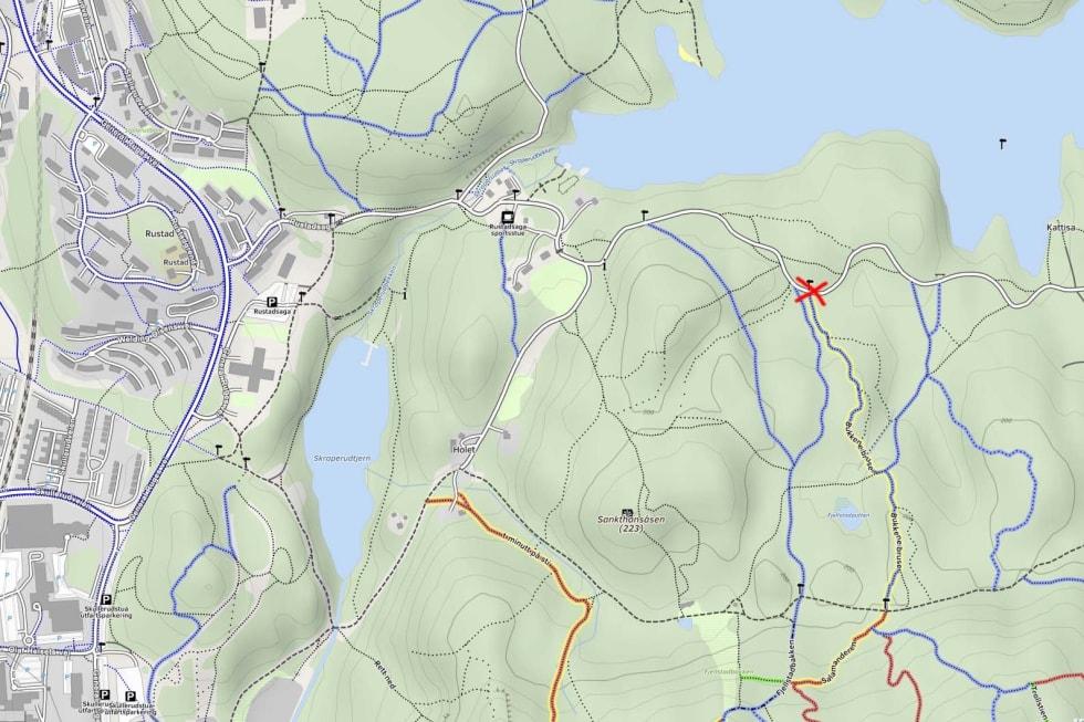 SLIK FINNER DU PIONEREN: Ved det røde krysset på dette kartet begynner stien.Skjermdump: mtbmap.no