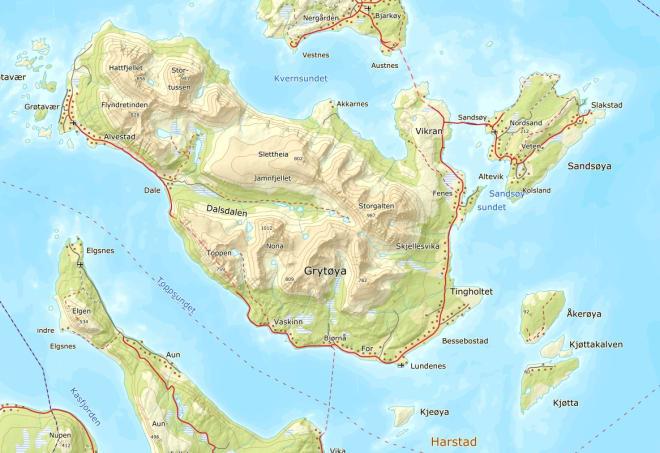 Kart over Grytøya
