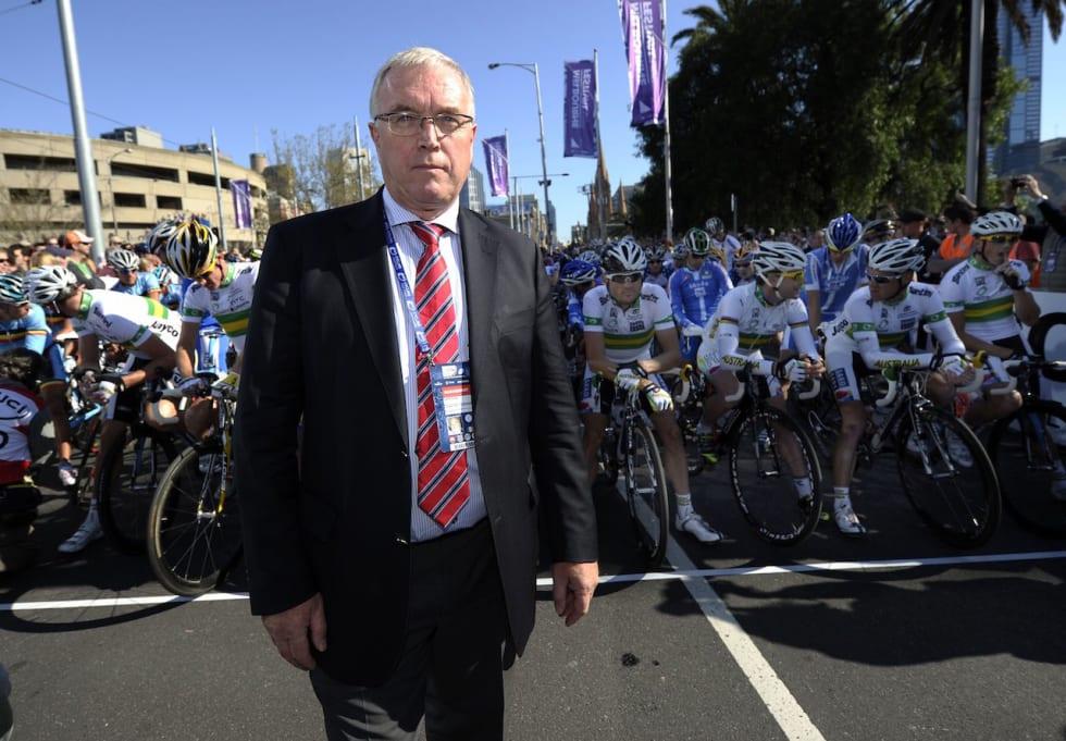 EN ANNEN TID: Pat McQuaid var fortsatt president i UCI da Hushovd vant gull, og det endelige dopingoppgjøret var ennå ikke tatt. Foto: Cor Vos.