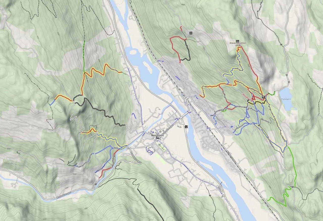 HER SYKLER DU I NESBYEN: Du finner fin stisykling på begge sidene av dalen i Nesbyen.Skjermbump: mtbmap.no