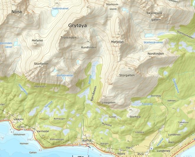 Kart, Bjørnådalen