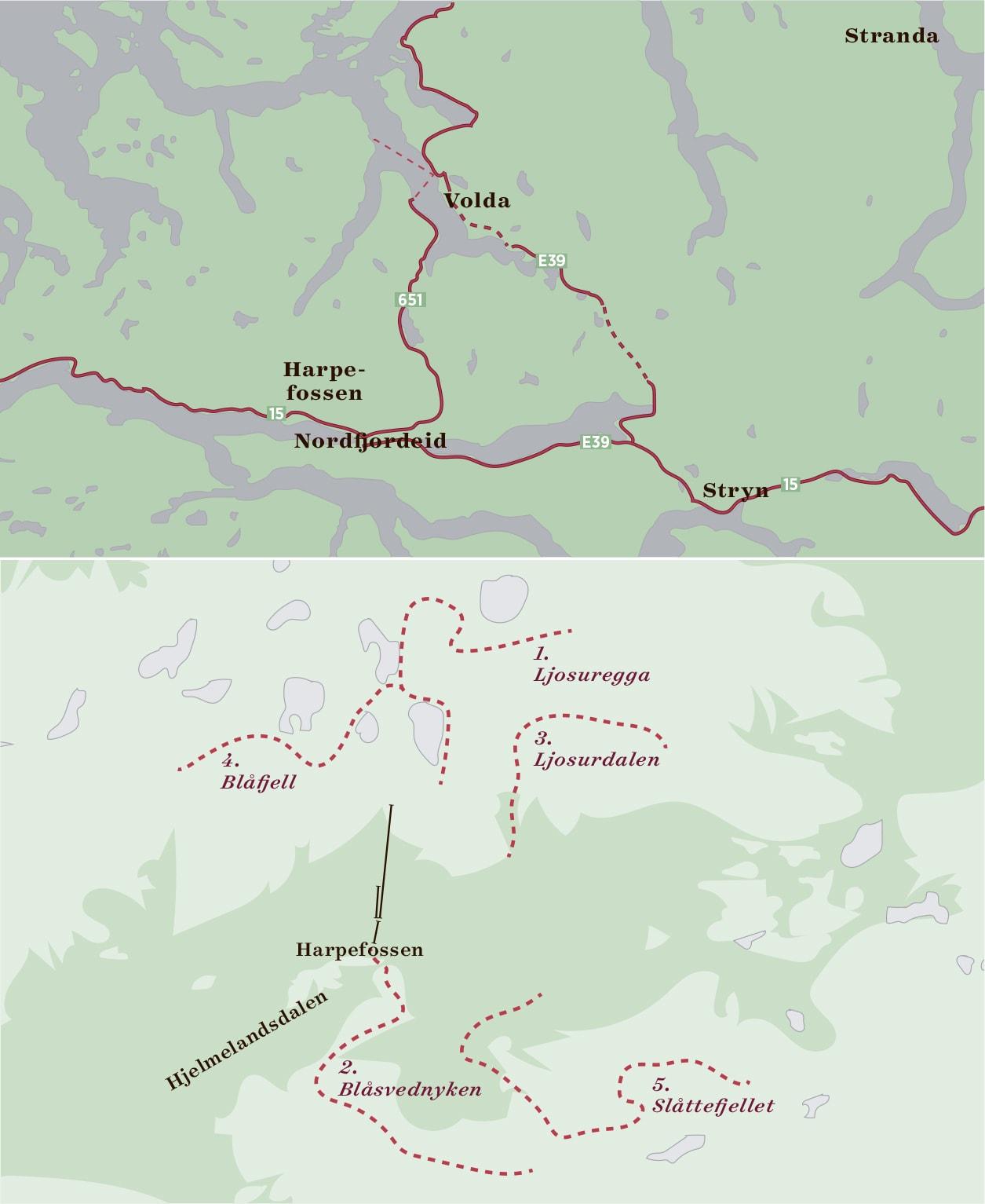 PLANENE: Harpefossen ønsker å bedrive catskiing på fem fjelltopper, sør og nord for skisenteret.