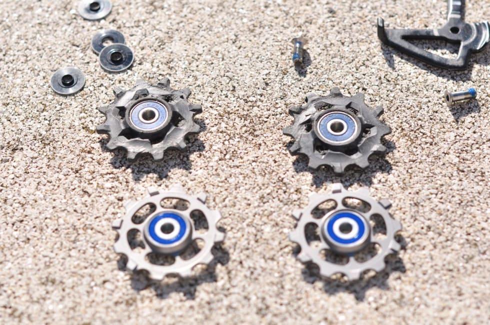FØR OG NÅ: Bytt ut kompositt-trinsehjulene med titan med keramiske lagre og spar en watt eller to.