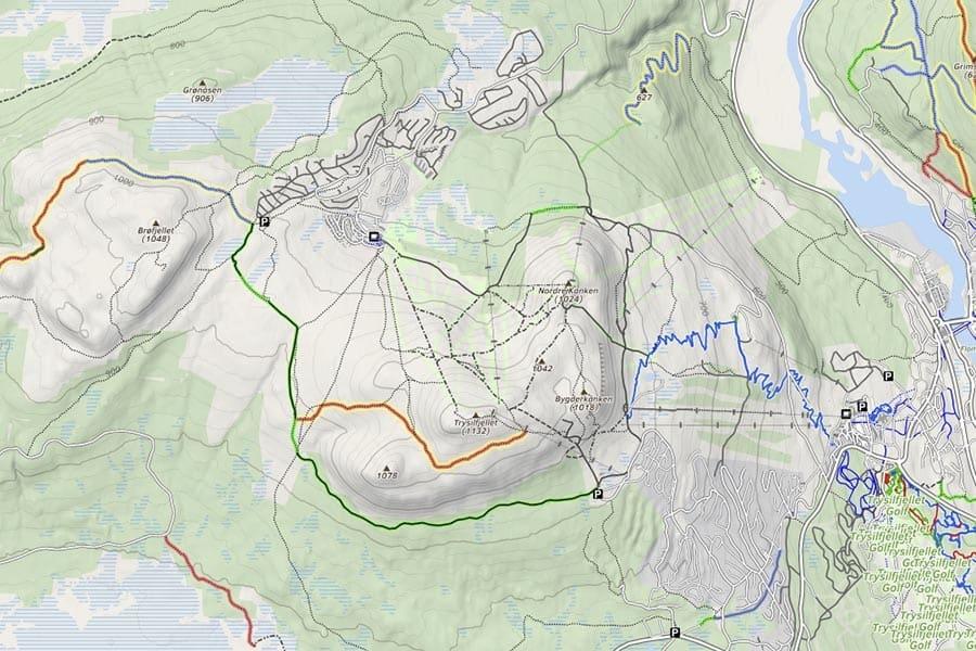 BAK TRYSIL: Området på baksiden av selve Trysilfjellet har også flere fine stier. Skjermdump: mtbmap.no.