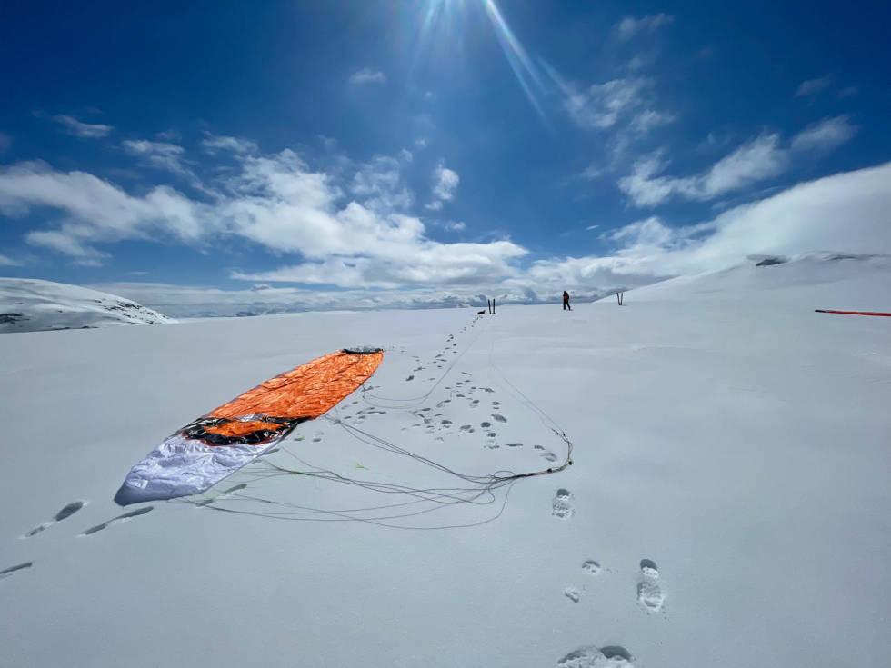 Jostedalsbreen på langs kite