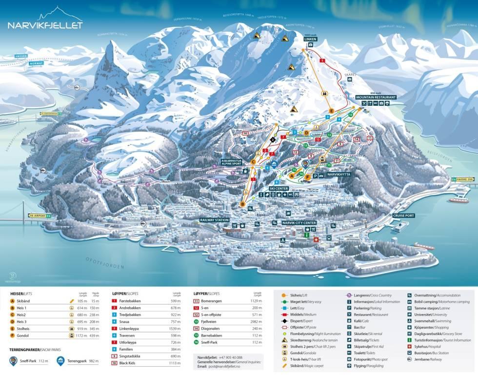 Løypekart Narvikfjellet