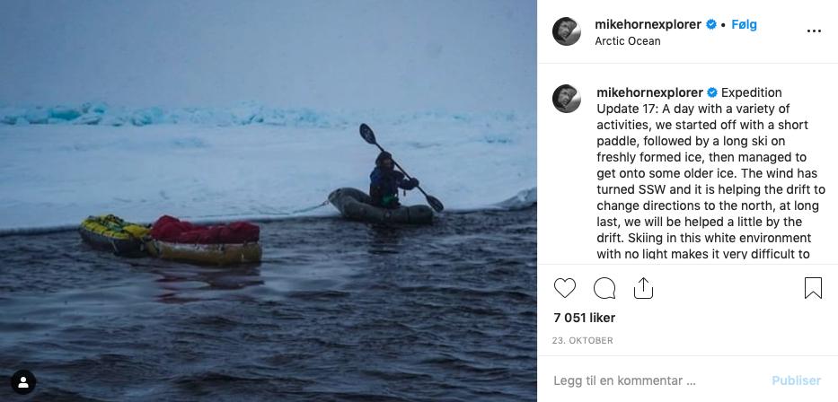 BACKRAFTER: Ekspedisjonen bruker oppblåstbare kajakker for å komme seg over isråk. Det kan være svært tidkrevende. Foto: Mike Horn