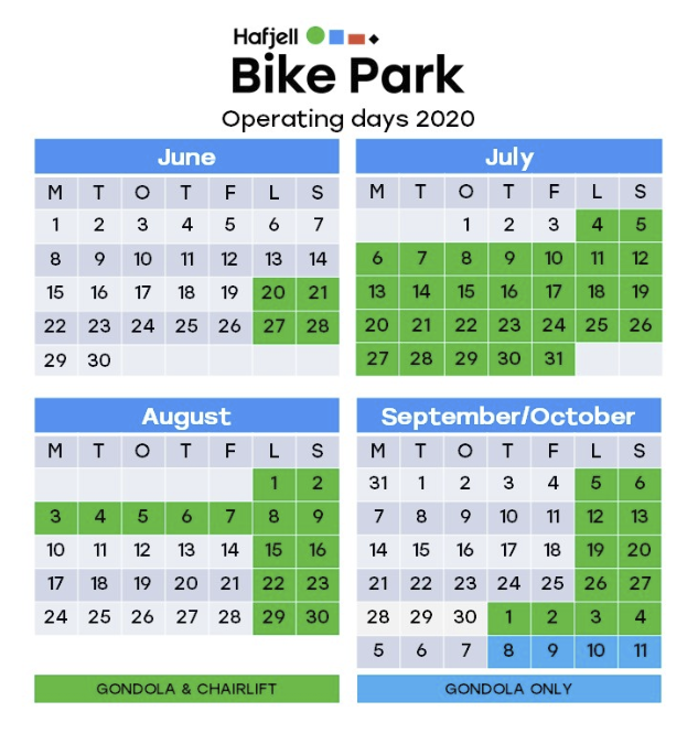 Åpningstider Hafjell Bike Park 2020