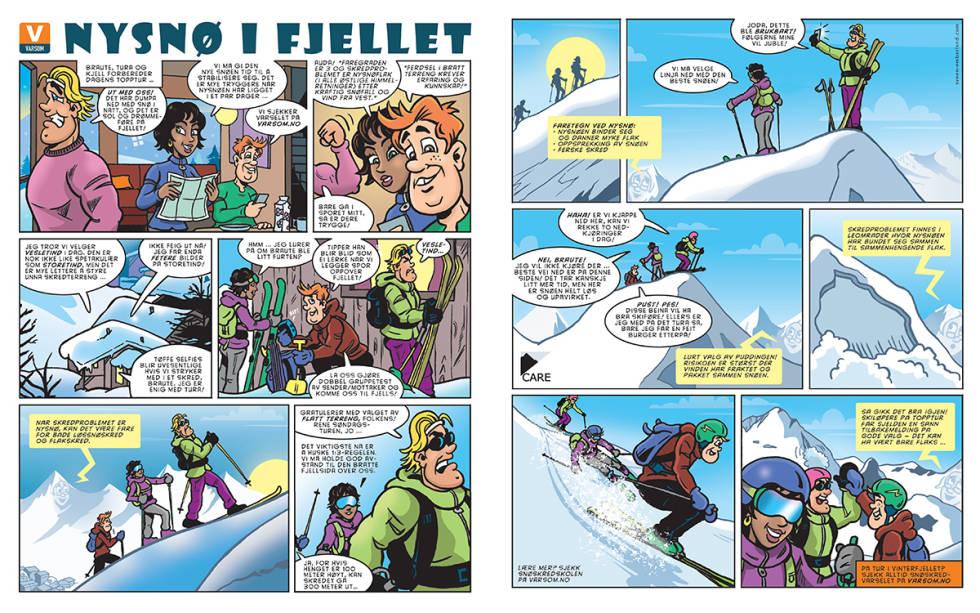 Tegneserie om snøskred laget av Ivan Emberland