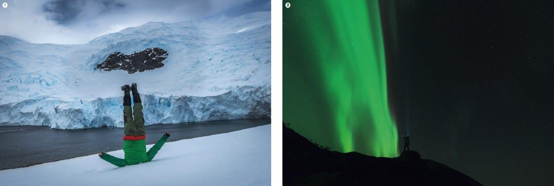 HODESTUPS: Hilsen fra Svalbard. MASSIVT: En vegg med lys, så nær at han nesten kan berøre det.