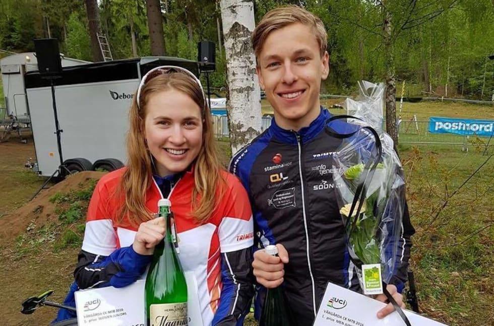 Thea Siggerud - Tobias H Johannessen Nordic MTB Vårgårda 2016 - Foto Privat 1400x924