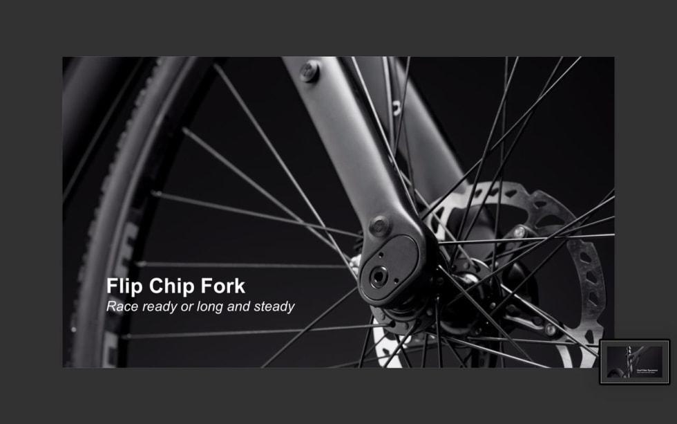 VENDBAR: Ved å snu akslingsfestet på gaffelen endrer du styregeometrien på sykkelen.