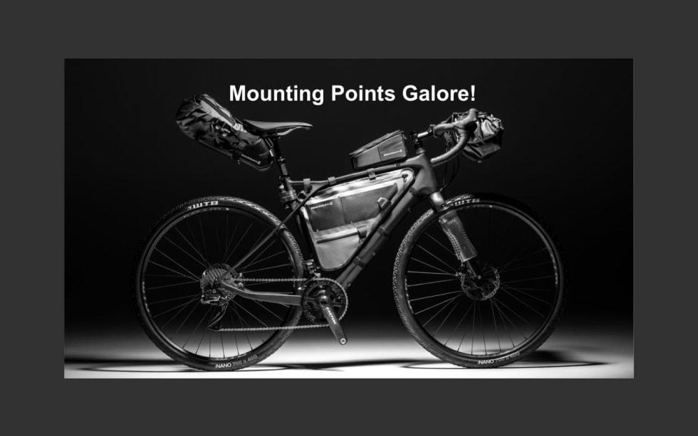 FESTER OVERALT: GT kaller det Mounting Points Galore - fester for stativer og bagasje finnes overalt på sykkelen.