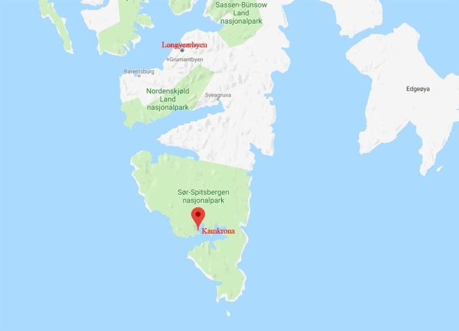 ULYKKESSTEDET: Ulykken skjedde på fjellet Kamkrona, ved Hornsund sør for Longyearbyen.