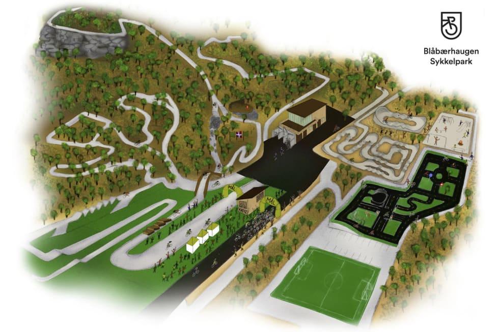 Slik vil Blåbærhaugen sykkelpark se ut ferdig utbygget. lllustrasjon: Harstad CK