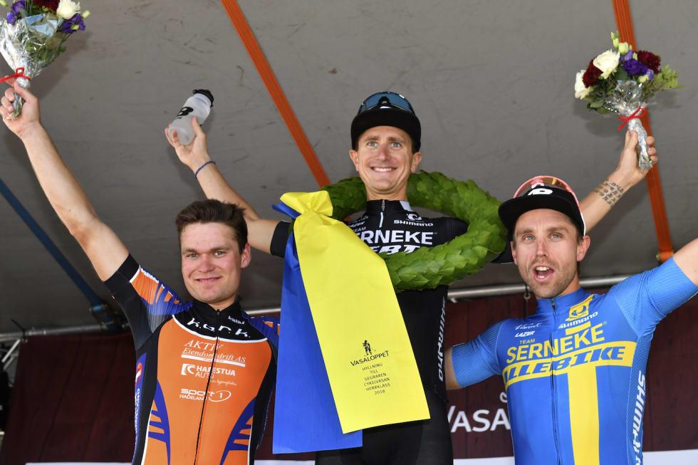 Emil Hasund Eid kom på andreplass i Cykelvasan i fjor, hårfint bak Michael Ohlsson og foran Emil Lindgren. Foto: Vasaloppet