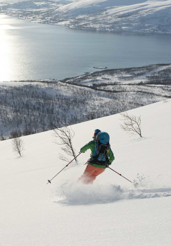 Nydelig føre ned fra Gammelgårdsfjellet. Foto: Espen Nordahl. / Trygge toppturer.