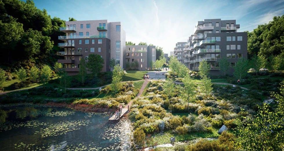 Planene i Asker: Tegnet med ryggen mot velodromen, og viser boligene som blir en del av anlegget.