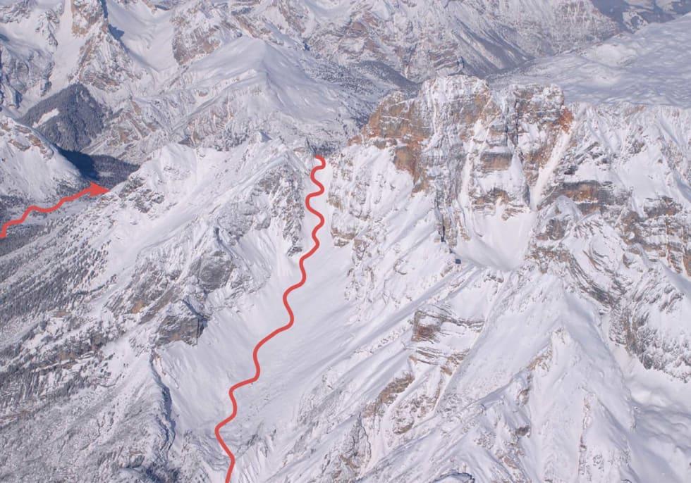 Croda Rossa med rute
