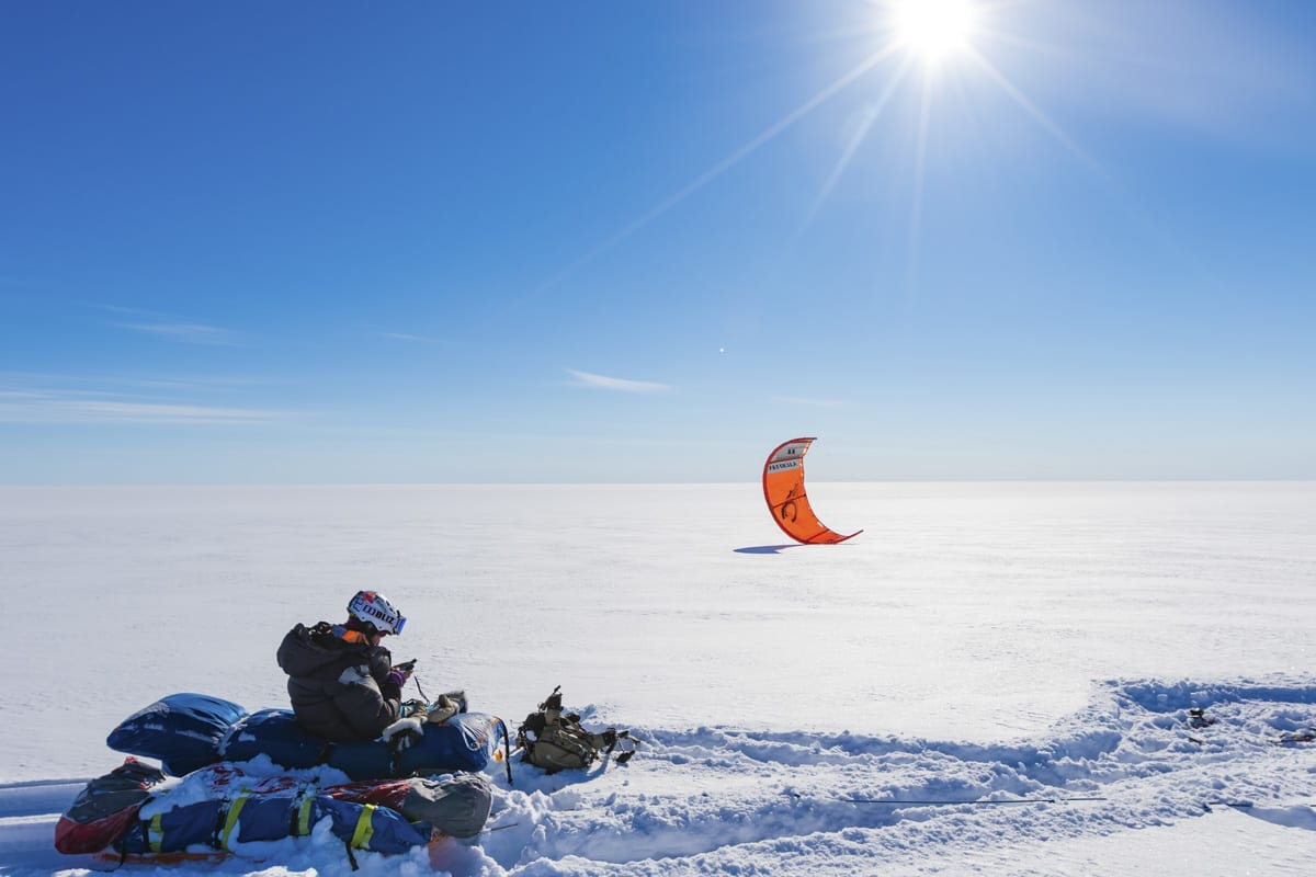 Kiting på Grønland. Foto: Håkon Mæland