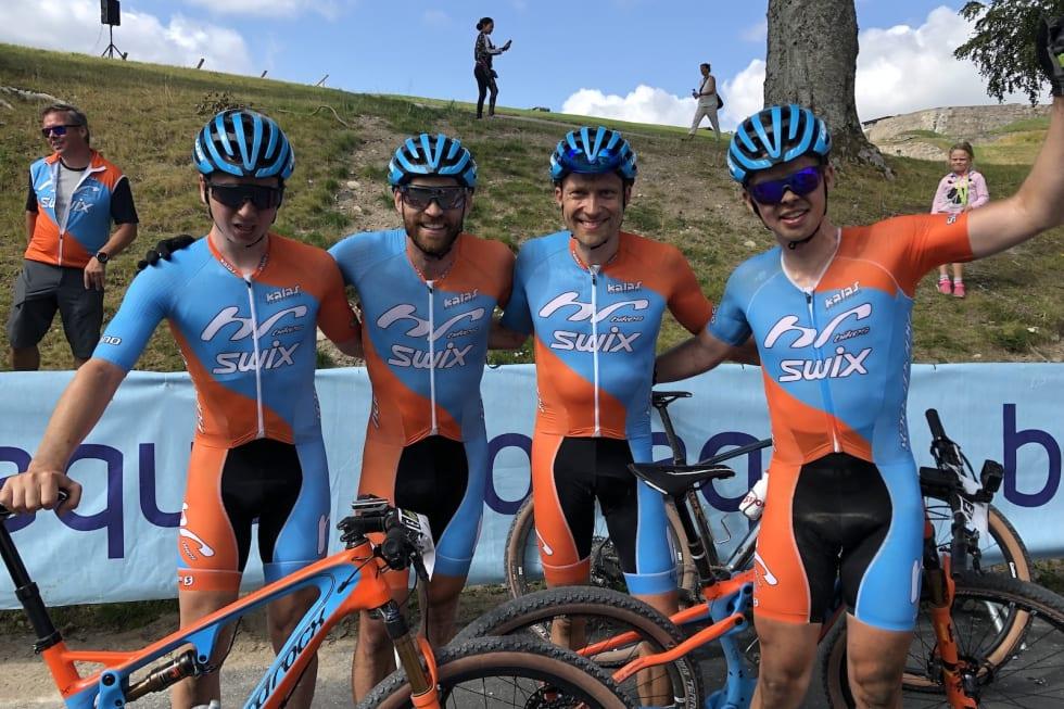 Swix Hard Rocx stiller med en sterk tropp til Helterittet, inkludert Gabriel Slinger (til venstre), Vidar Mehl, Fredrik Stephansen og norgescuplederen Fredrik Haraldseth. Foto: Caroline Koren