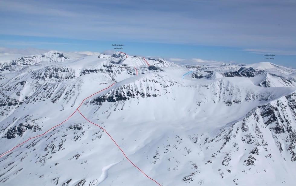 Bildet viser den delen av ruta fra Galdhøpiggen og den siste nedkjøringen fra Leirløyfte. Foto: Marte Stensland Jørgensen / Høgruta i Jotunheimen