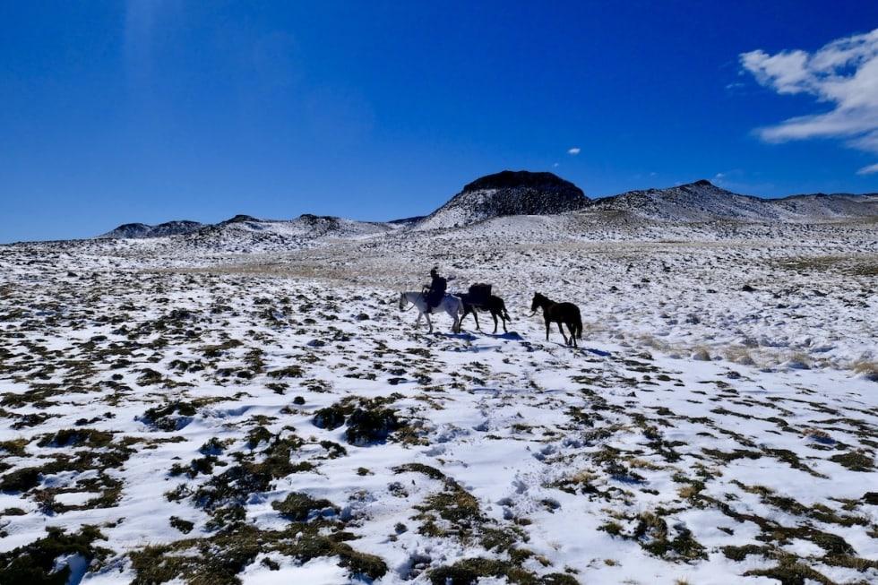 Det var her på hesteryggen i Patagonia i fjor høst at Marcus Aspsjö fikk ideen til å svømme Sognefjorden på langs i år. Foto: Privat