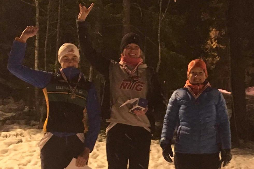 Damepallen i Hakadal Enduro Winterhill: Anna Littorin-Sandbu tok seieren foran Hedda Brenningen Bjørklund mens Kari Olstad kom på tredjeplass. Foto: Helen Littorin-Sandbu