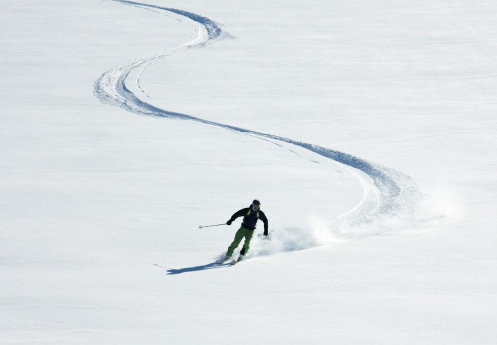 HEMMELIGHET: De som er oppvokst der, vet at den beste nedkjøringen er ned mot Sægrov. Foto: Olav Sægrov