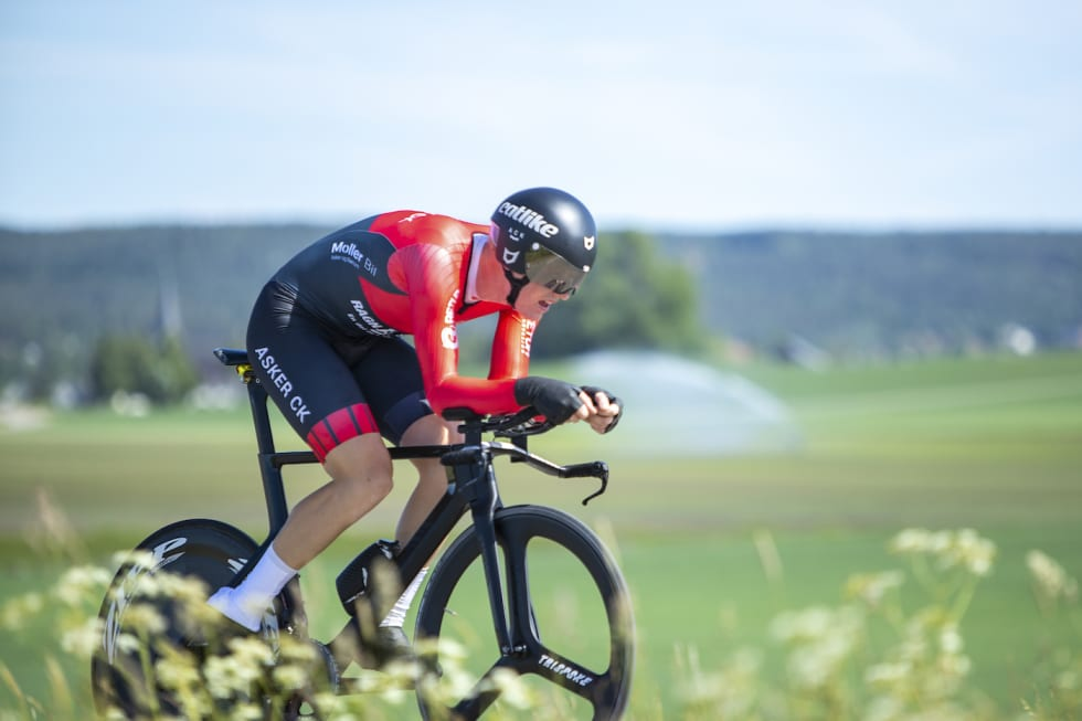 SPENT: Eirik Wendelborg fra Asker CK Elite ble nummer tre i temporittet Mot Klokka 2018. Foto: Pål Westgaard