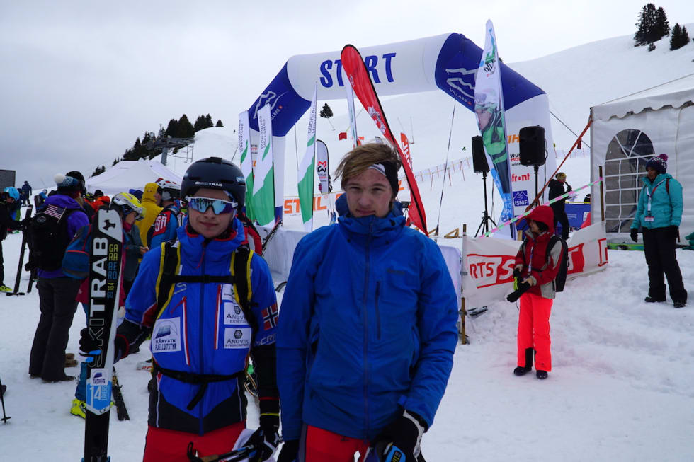 Juniorene Erik Kårvatn og Edvard Sætran Solli debuterte i mesterskapssammenheng med Rando-VM i Sveits denne uka. Foto: NSF