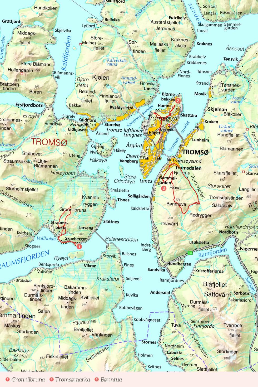 Oversiktskart over Tromsø med inntegnet rute. Fra Stisykling i Norge.