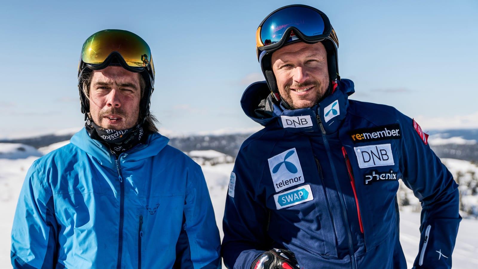 SKIKOMPISER: Eirik Finseth og Aksel Lund Svindal har hundrevis av timer på ski sammen, både fra tiden da Finseth også drev med racing, men også i senere tid som frikjørere. Bilde: Magnus Roaldset Furset