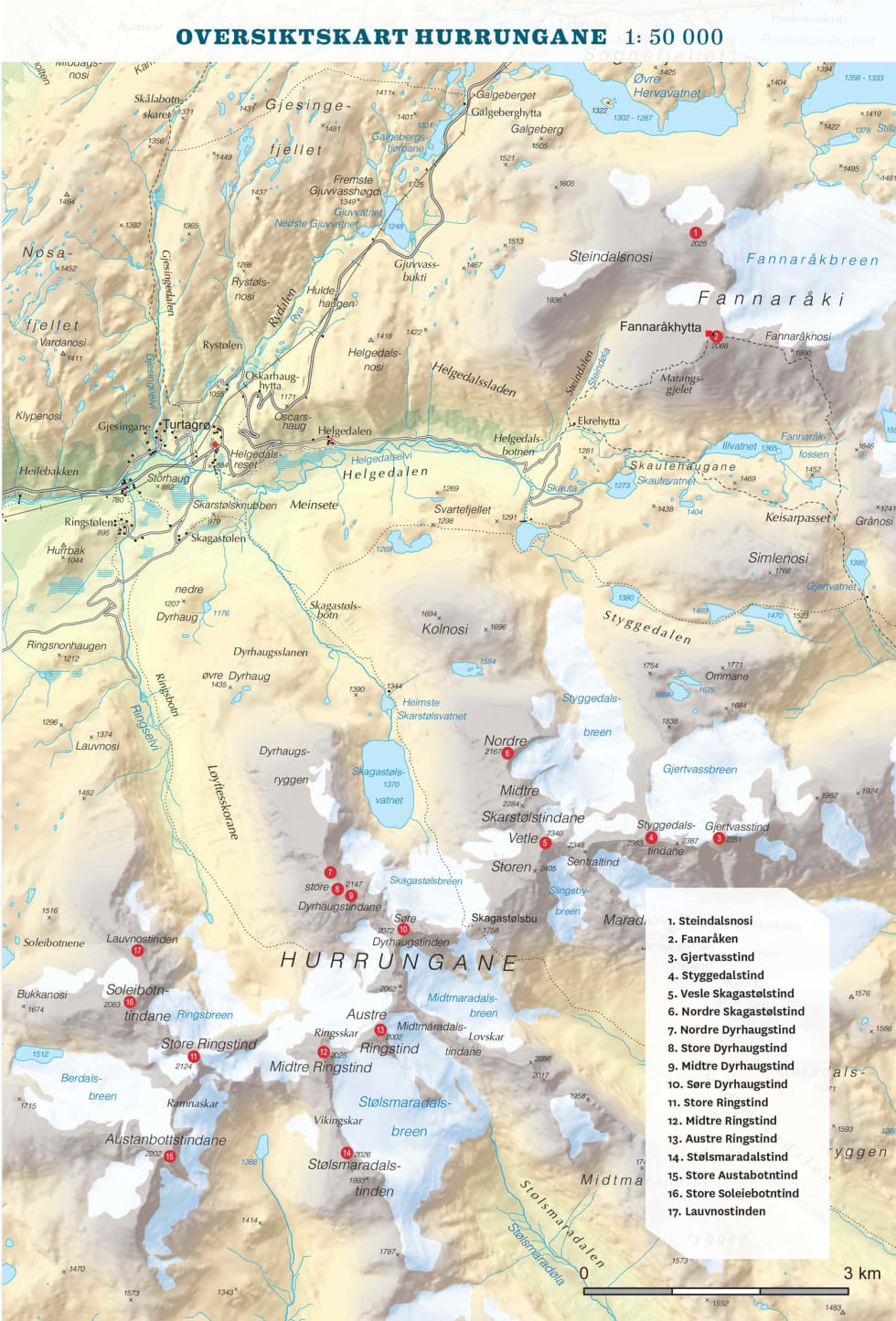 Oversiktskart over Hurrungane. Frå Toppturar i Sogn.