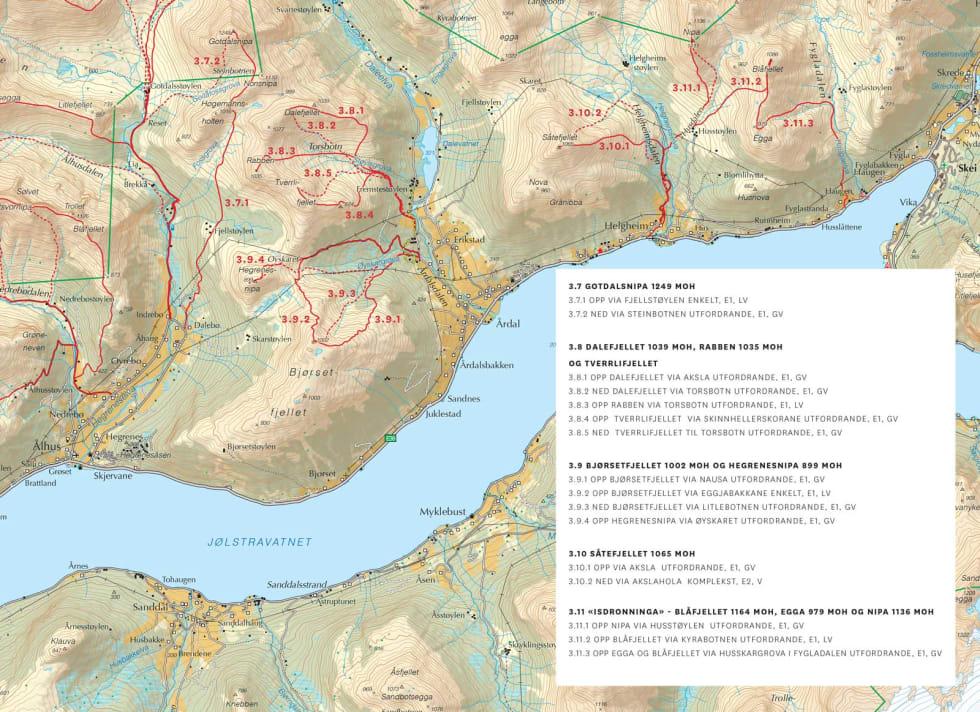 Oversiktskart over Nordsida av Jølstravatnet. Frå Toppturar i Sunnfjord.