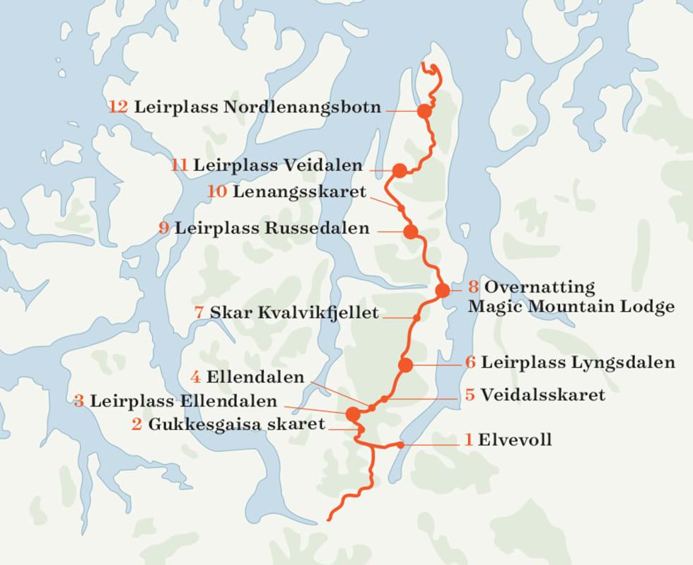 Kart over Lyngen