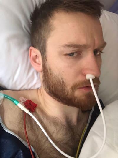 SYKEHUS: Gangsø-prinsen med en kabel i nesa.