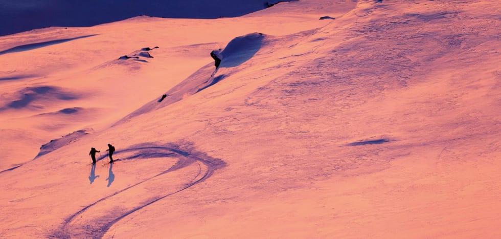 Lyset i Nord-Norge tidlig på topptursesongen kan være helt magisk. Foto: Fredrik Schenholm / Toppturer rundt Narvik.
