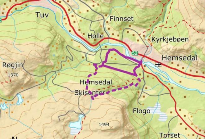 PLAN: Dette området berøres av utbyggingsplanene. Illustrasjon fra Skred AS