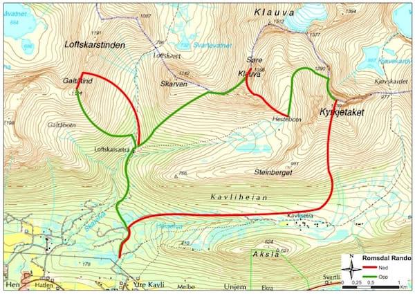 Her er den planlagte løypa tegnet inn på kartet.