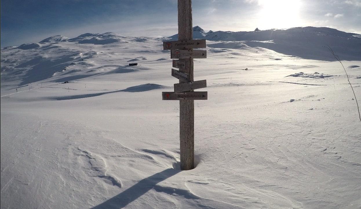 GODT SKILTET: Mye snø, men skiltene er heldigvis plassert høyt ved Krossbu.