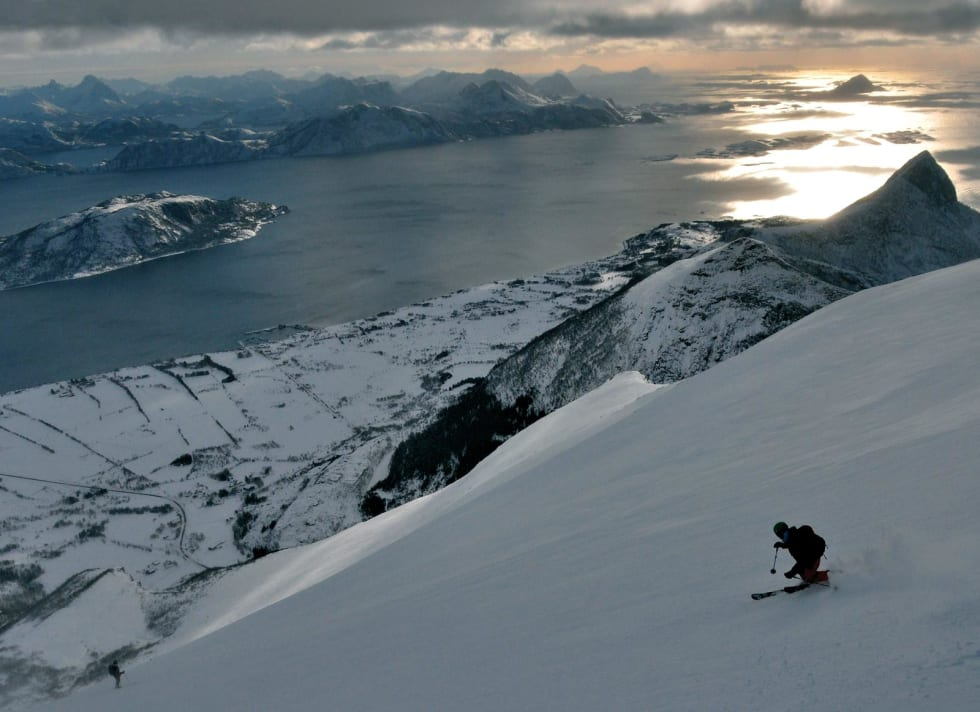 Bildetekst: Sydflanken på Skjeggen. Foto: Lars Thomas Poppe. / Toppturer rundt Bodø.